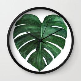 Watercolor Monstera leaf Wall Clock