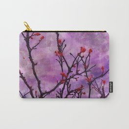Dark Branches With Red Buds Watercolor Carry-All Pouch