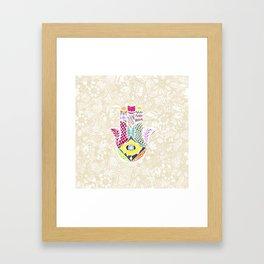 Artistic Hand Drawn Hamsa Hand an Floral Drawings Framed Art Print