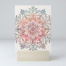 Autumn Spice Mandala in Coral, Cream and Rose Mini Art Print