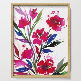 POCKETFUL OF POSIES 1, Colorful Summer Watercolor Floral Painting Abstract Red Blue Pink Flowers Art Serving Tray