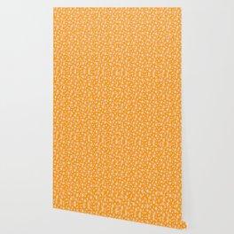 Festive Mango Mojito Orange and White Christmas Holiday Snowflakes Wallpaper