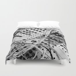 analog synthesizer  - diagonal black and white illustration Duvet Cover