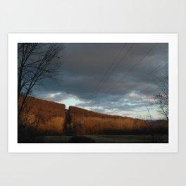 Powerlines through Mountain Art Print
