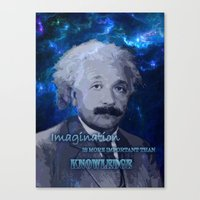 einstein Canvas Prints featuring EINSTEIN by DisPrints