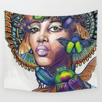 egyptian Wall Tapestries featuring Egyptian Queen by Thea Maia