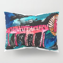 Artists Impression of a Lion (2065) Pink, Red Tiger Striped Lion with Far Too Many Legs Pillow Sham