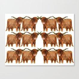 Gathering: Highland Cows Canvas Print