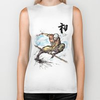 airbender Biker Tanks featuring Aang from Avatar the Last Airbender sumi/watercolor by mycks
