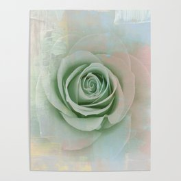 Elegant Painterly Mint Green Rose Abstract Poster