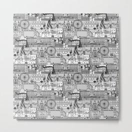 London toile black white Metal Print