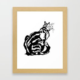 Black And White Seated Tabby Cat Framed Art Print