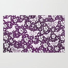 purple,siilver,flowers, stars, butterfly, pattern, bright, shiny, elegant, color Rug