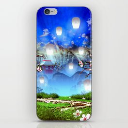 White lanterns with cherry blossom and mountain temple iPhone Skin