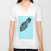 nurse V-neck T-shirts featuring NURSE DUCKETT by 3SCOOPS