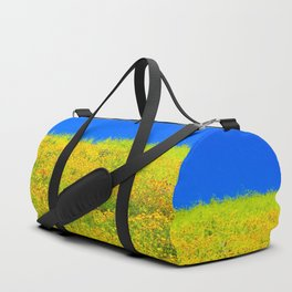 yellow poppy flower field with green leaf and clear blue sky Duffle Bag