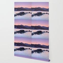 Half Moon Beach. Purple Sunset At The Mountains Wallpaper