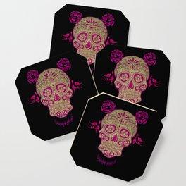 Sugar Skull Green and Pink Coaster