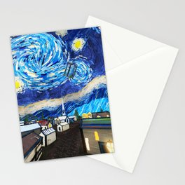 Tardis Art Starry City Night Stationery Cards