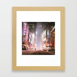 New York City Colorful Snowy Night in Times Square Framed Art Print