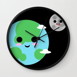 THE EARTH AND MOON Wall Clock