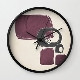 Retro Abstract Design in Charcoal Grey and Mulberry Wall Clock