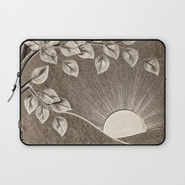 Sun and Tree Carved Stone Laptop Sleeve