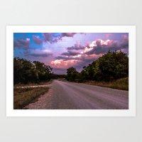 Sunset road Art Print