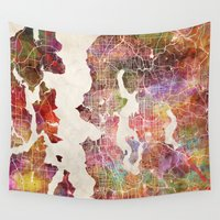 seattle Wall Tapestries featuring Seattle by MapMapMaps.Watercolors