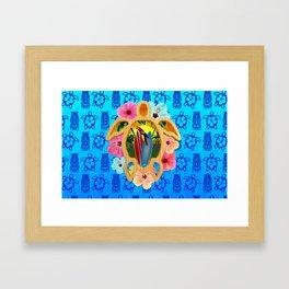 Hawaiian Surfboard Sunset Framed Art Print