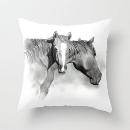 Horse Mare and Foal, Pencil Drawing, Equine Art Throw Pillow