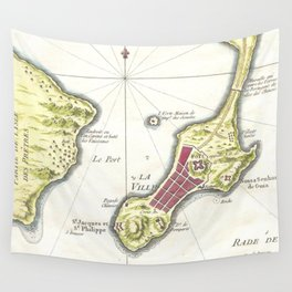 Vintage Map of Macau China (1750) Wall Tapestry