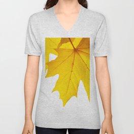 Yellow maple leaf. Unisex V-Neck