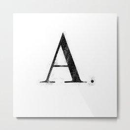 A. - Distressed Initial Metal Print