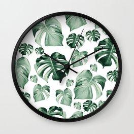 Tropical Monstera Pattern #2 #tropical #decor #art #society6 Wall Clock