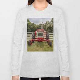 IH 240 Red International Farmall Tractor Front View Long Sleeve T-shirt