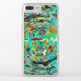 psychedelic circle pattern painting abstract background in green blue yellow brown Clear iPhone Case