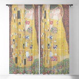 Gustav Klimt - The Kiss gold leaf, silver, and platinum, The Lovers golden period still life Sheer Curtain