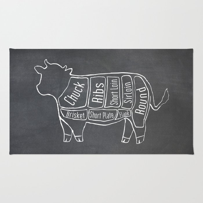 Beef butcher diagram cow meat chart rug by kitchenbathprints beef butcher diagram cow meat chart rug ccuart Gallery