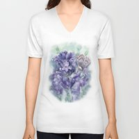 lavender V-neck T-shirts featuring Lavender by A cup of grey tea