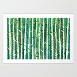Birch Forest Watercolor Art Print