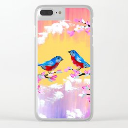 Sunset and Cherry Blossom Clear iPhone Case