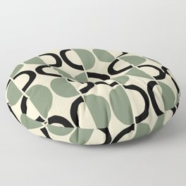 Mid Century Modern Half Circle Pattern 538 Beige Green and Black Floor Pillow