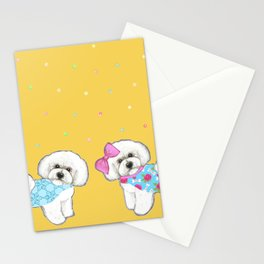 Bichon Frise Holidays yellow cute dogs, Christmas gift, holiday gift, birthday gift, dog, Bijon Stationery Cards