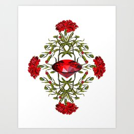 Birth Stone & Flower Print/JANUARY Art Print