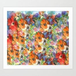 Poppies and Wildflower Impressions Art Print
