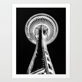Seattle Space Needle B&W Art Print
