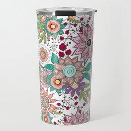 Stylish floral doodles vibrant design Travel Mug