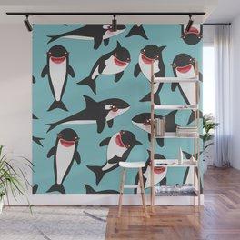 Cartoon grampus orca, Kawaii whale, sea wolf Wall Mural