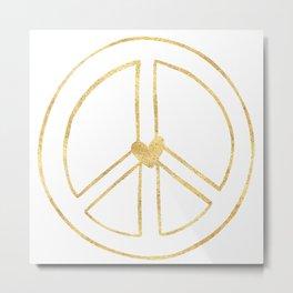 Gold Heart Peace Sign Metal Print